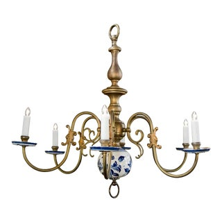 Blue and White Delft and Brass Chandelier, Circa 1940 For Sale