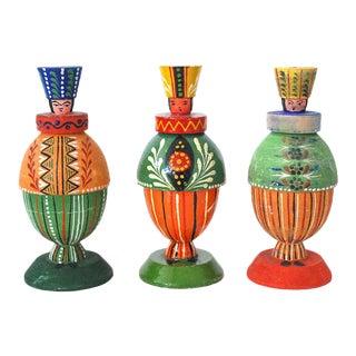 Vintage Wooden Folk Art Figurines From Poland - Set of 3
