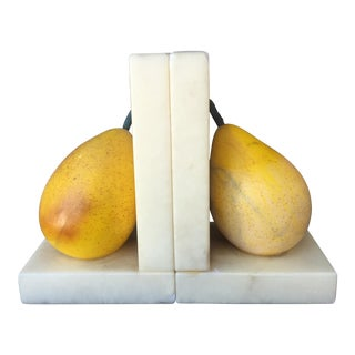 Vintage Alabaster Italian Carved Pear Bookends - a Pair