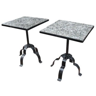 Pair of Wrought Iron & Granite Occasional Tables For Sale