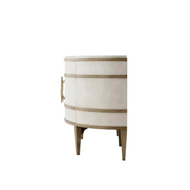 Modern Embossed Leather Demi Lune Cabinet For Sale - Image 4 of 7