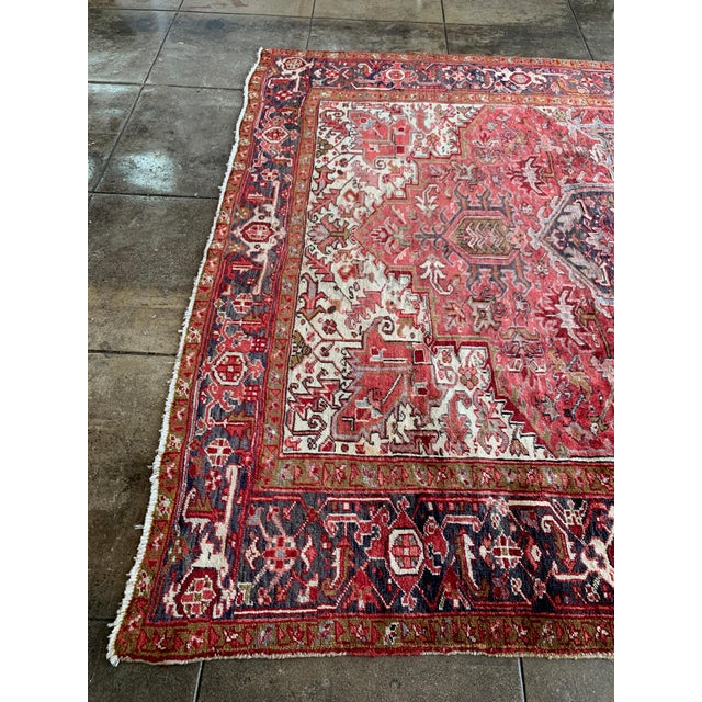 "1940s Persian Heriz Rug 11' 10"" X 7'4"" For Sale - Image 4 of 9"