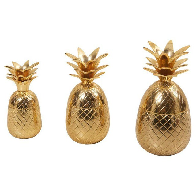 Set of 3 Brass Pineapple Ice Buckets or Candy Boxes For Sale - Image 9 of 9
