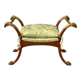 Carved Giltwood Griffin Bench Upholstered in Fine Silk, 19th Century For Sale