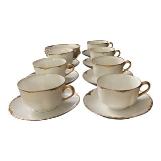 Hutschenreuther Selb Bavaria Germany Blenheim Pattern Cups and Saucers - 17 Piece Set For Sale