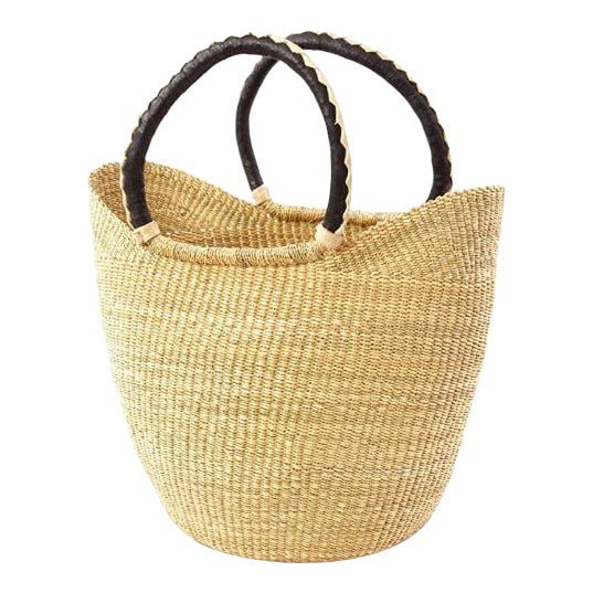 African Bolga Ghana Woven Yikene Basket Beach Bag U Shopper With Black Handles For Sale