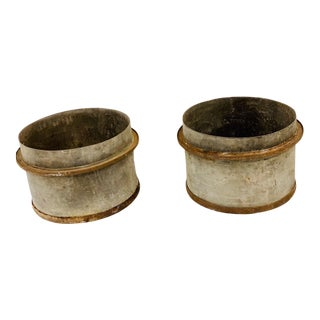 Early 20th Century Industrial Zinc and Iron Planters - a Pair For Sale