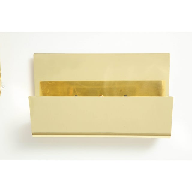 1970s Minimalist Italian Brass Sconces - a Pair For Sale - Image 5 of 9