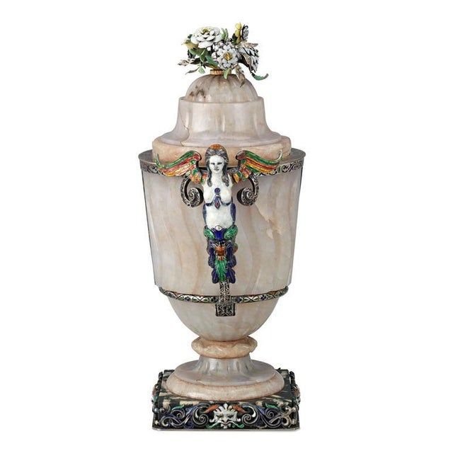 Rococo 19th Century Viennese Agate and Enamel Covered Urn For Sale - Image 3 of 4