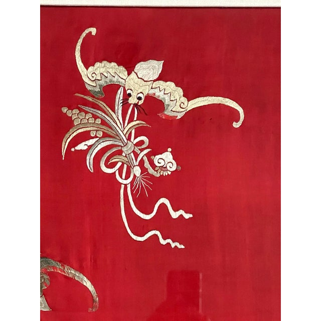 Red Framed Chinese Embroidery Panel of Longevity Deities For Sale - Image 8 of 13