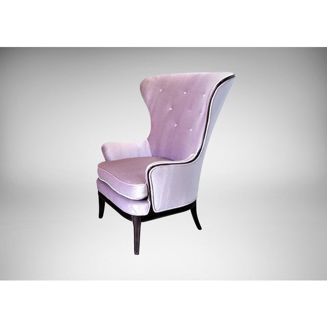 Mid-Century Modern Lilac Mohair & Mahogany Wingback Chair - Image 2 of 8