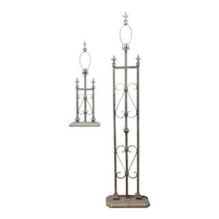 1980s Vintage Wrought Iron Lamps - a Pair For Sale