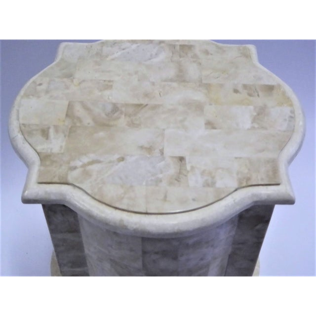 White Tesselated Fossil Stone Nightstand End Table from Marquis Collection of Beverly Hills For Sale - Image 8 of 11