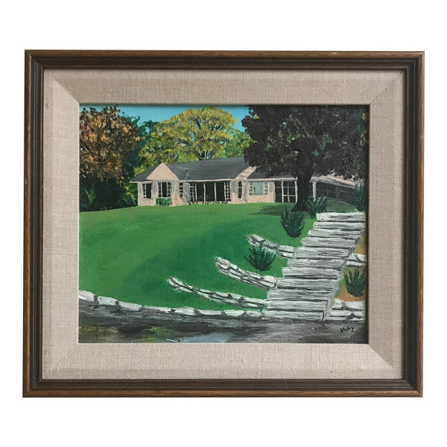 Mid Century House Painting by Milly For Sale