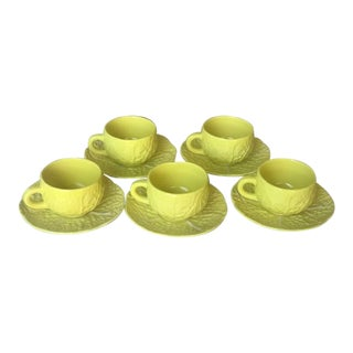 Vintage Secla Yellow Cabbage Coffee Cups and Saucers From Portugal - Set of 5 For Sale