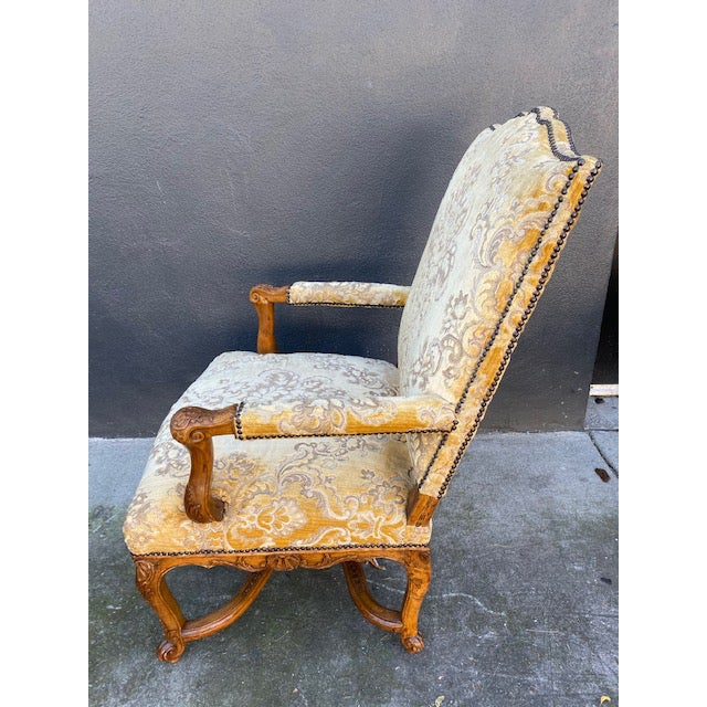 Single 18th C. French Regence Walnut Carved Arm Chair For Sale In Los Angeles - Image 6 of 12