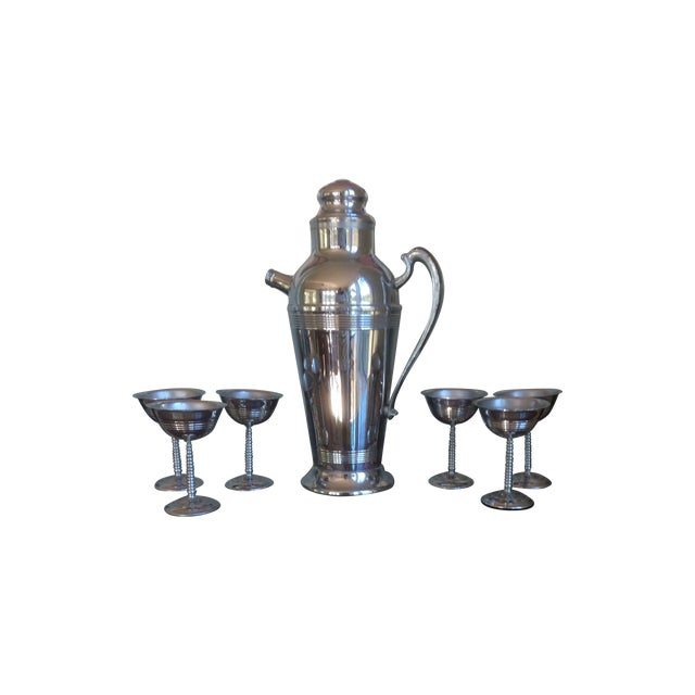 Chrome Plated Stainless Steel 1950's Cocktail Set - Image 1 of 9