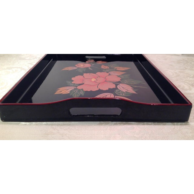 Mid-Century Modern Japanese Lacquer Tray With Floral Design - Image 4 of 11