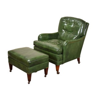 20th Century Traditional Hickory Chair Company Green Leather Club Chair with Ottoman - 2 Pieces