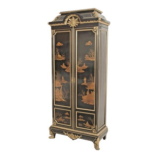 French Victorian Chinoiserie Decorated Armoire Cabinet For Sale