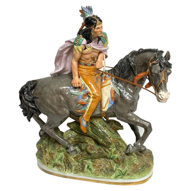 American Indian on Horseback, by Scheibe Alsbach / Volkstedt Porcelain For Sale - Image 13 of 13