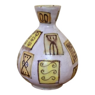 Guido Gambone Painted Ceramic Pottery Vase For Sale