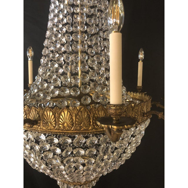 Large French Antique Louis XVI Style Bronze and Crystal Chandelier For Sale - Image 9 of 11