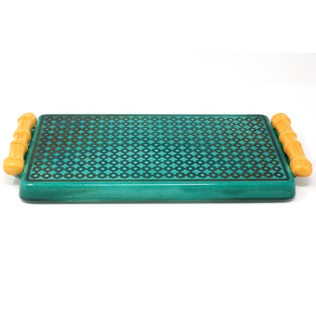 Vintage Ceramic Green Tray With Faux Bamboo Handles For Sale - Image 4 of 8