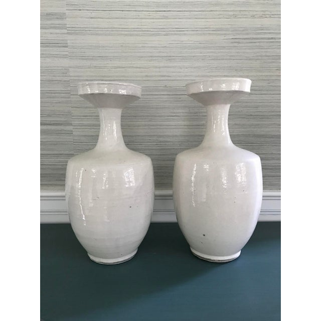 Tall Glazed White Ceramic Urns - A Pair - Image 3 of 6