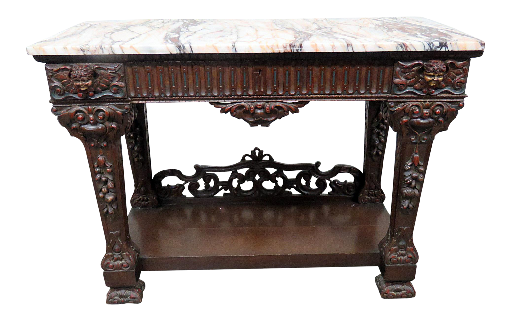 Renaissance Style Marble Top Console Table For Sale