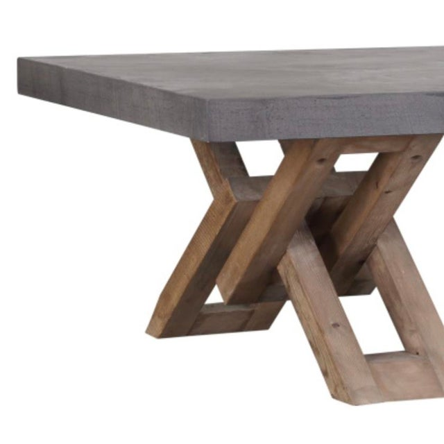 Lightweight cement resin top coffee table with sturdy wood base. Farmhouse modern style. Great outdoors or indoors. Back...