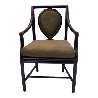 Vintage McGuire Model No. M-26 Rattan and Leather Corner Wraps Arm Chair For Sale