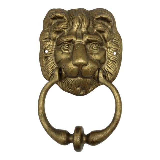 Vintage Lions Head Brass Door Knocker For Sale