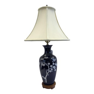 Asian Blue & White Hand Painted Porcelain Table Lamp