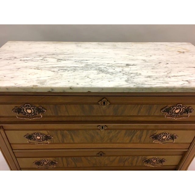 Brown 19th C. Mahogany & Marble Chest For Sale - Image 8 of 11
