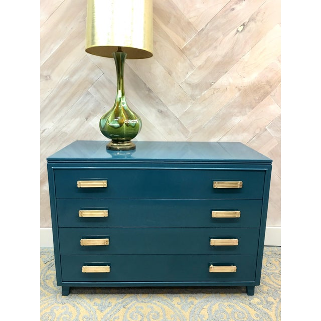 Lacquered Teal Brass Hardware Dresser - Image 3 of 7