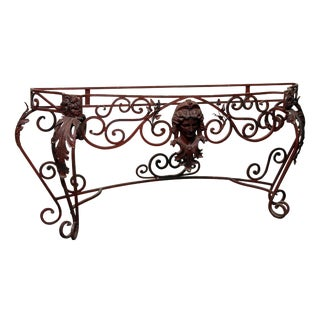Art Nouveau Red Wrought Iron Figural Console For Sale