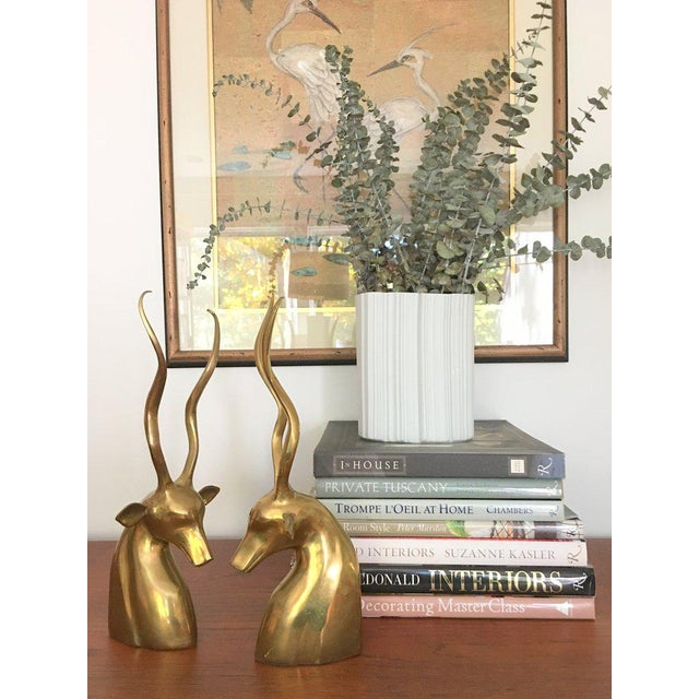 Modernist Sculptural Brass Gazelle Bookends - a Pair For Sale - Image 11 of 12