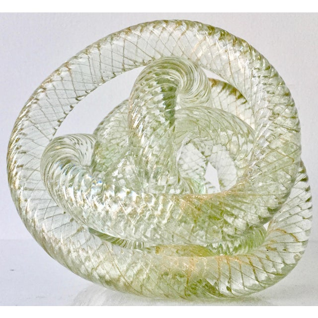 This fabulous hand-blown Murano glass sculpture or large paperweight features free-form transparent twisted glass cord...