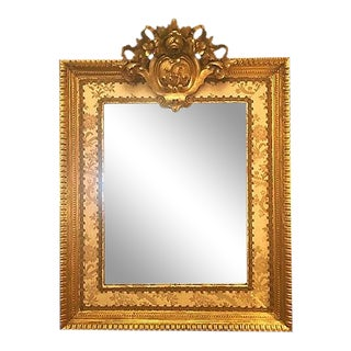 19th-Century French Upholstered Trim Mirror For Sale