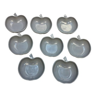 Vintage Gray Hazel Atlas Apple Shaped Glass Dishes - Set of 8
