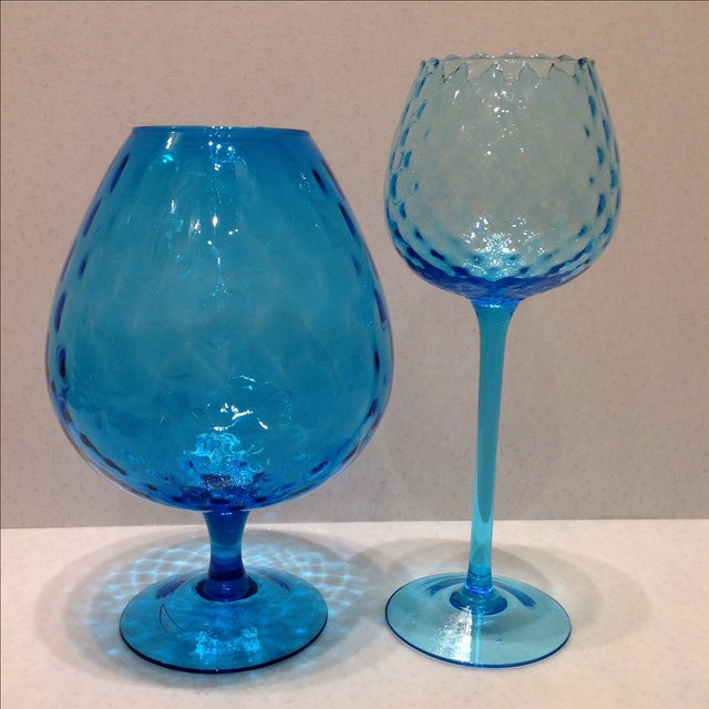 Blue Optic Glass Murano Vases - A Pair - Image 11 of 11