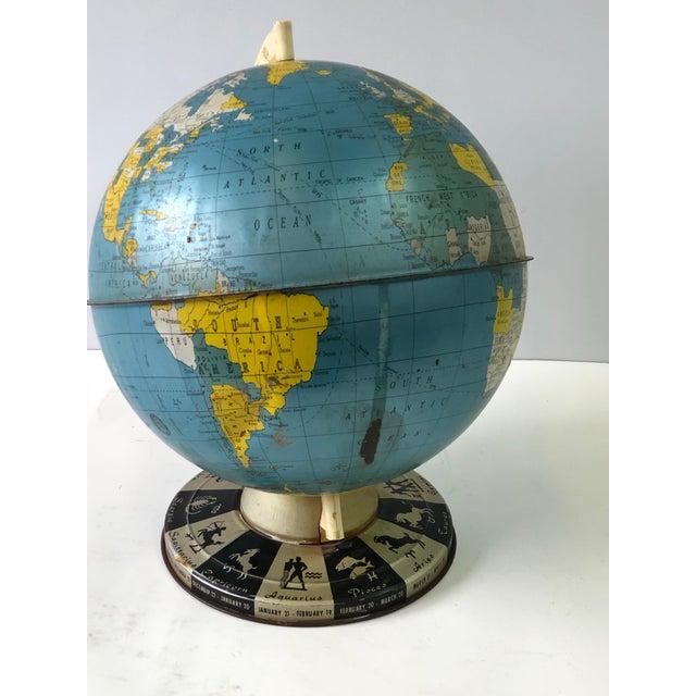 Metal Retro Metallic World Globe With Zodiac Base For Sale - Image 7 of 13