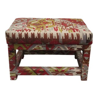Red and Green Kilim Covered Ottoman