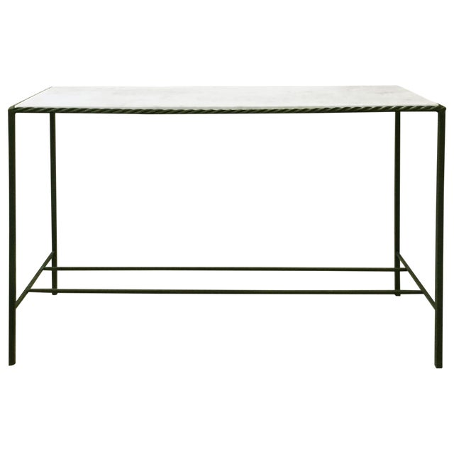 Metal Rectangular White Marble Top Console Table For Sale