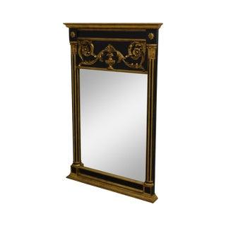 La Barge Regency Style Vintage Black & Gold Trumeau Mirror For Sale