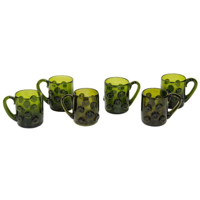 Mid-Century Modern Set of Six Mid-Century Modern Demitasse Mugs in Emerald Glass For Sale - Image 3 of 8