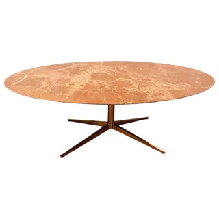 Florence Knoll Dining Table / Conference Table Chrome Quad Based Marble Top For Sale
