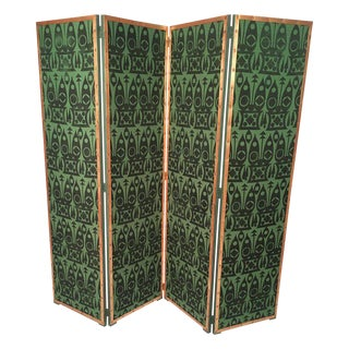 Hand Block Printed Black and Green Fabric Four Panel Screen For Sale