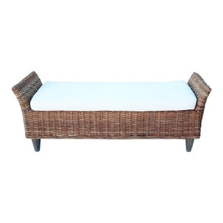 Modern Rattan Bench With Cushion For Sale